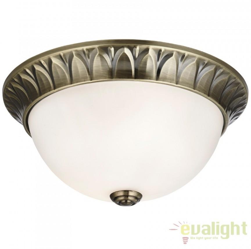 Plafoniera clasica diametru 28cm FLUSH 4148-28AB SRT, Lustre aplicate, Plafoniere clasice, Corpuri de iluminat, lustre, aplice a