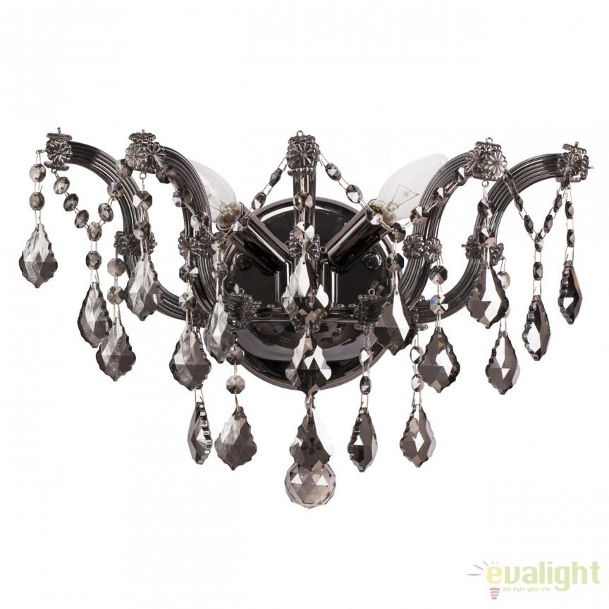 Aplica de perete cu cristale, finisaj nickel, Louise 383021202, Magazin, Corpuri de iluminat, lustre, aplice, veioze, lampadare, plafoniere. Mobilier si decoratiuni, oglinzi, scaune, fotolii. Oferte speciale iluminat interior si exterior. Livram in toata tara.  a