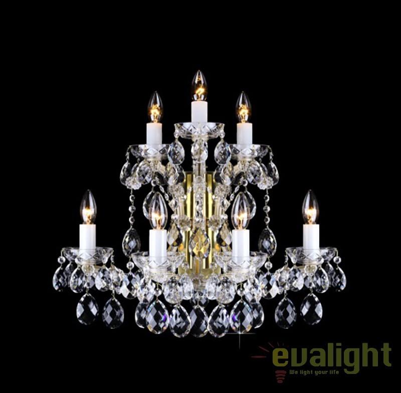 Aplica de perete Maria Theresa cu 7 brate, cristal Bohemia N24 001/07/1, Aplice Cristal Bohemia, Corpuri de iluminat, lustre, aplice, veioze, lampadare, plafoniere. Mobilier si decoratiuni, oglinzi, scaune, fotolii. Oferte speciale iluminat interior si exterior. Livram in toata tara.  a