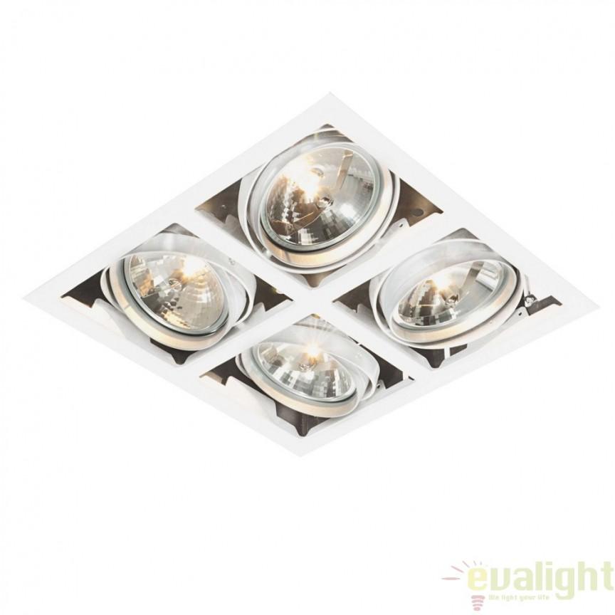 Corp iluminat incastrabil cu 4 spoturi directionabile Box AR111 AR00402 EN, Spoturi LED incastrate, aplicate, Corpuri de iluminat, lustre, aplice a