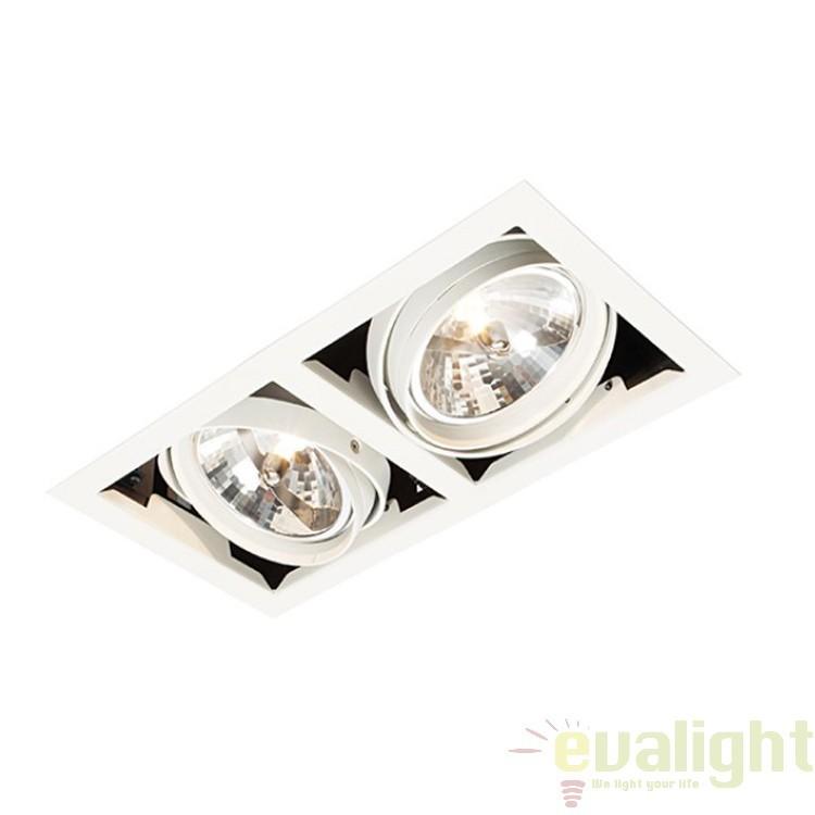 Corp iluminat incastrabil cu 2 spoturi directionabile 50W, Box AR111 AR00202 EN, Spoturi incastrate, aplicate - tavan / perete, Corpuri de iluminat, lustre, aplice a