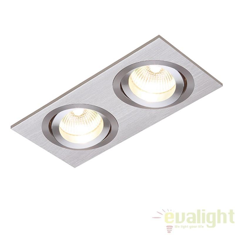 Corp iluminat incastrabil cu 2 spoturi directionabile, Tetra Twin 50W 11067 EN, Spoturi incastrate, aplicate - tavan / perete, Corpuri de iluminat, lustre, aplice a