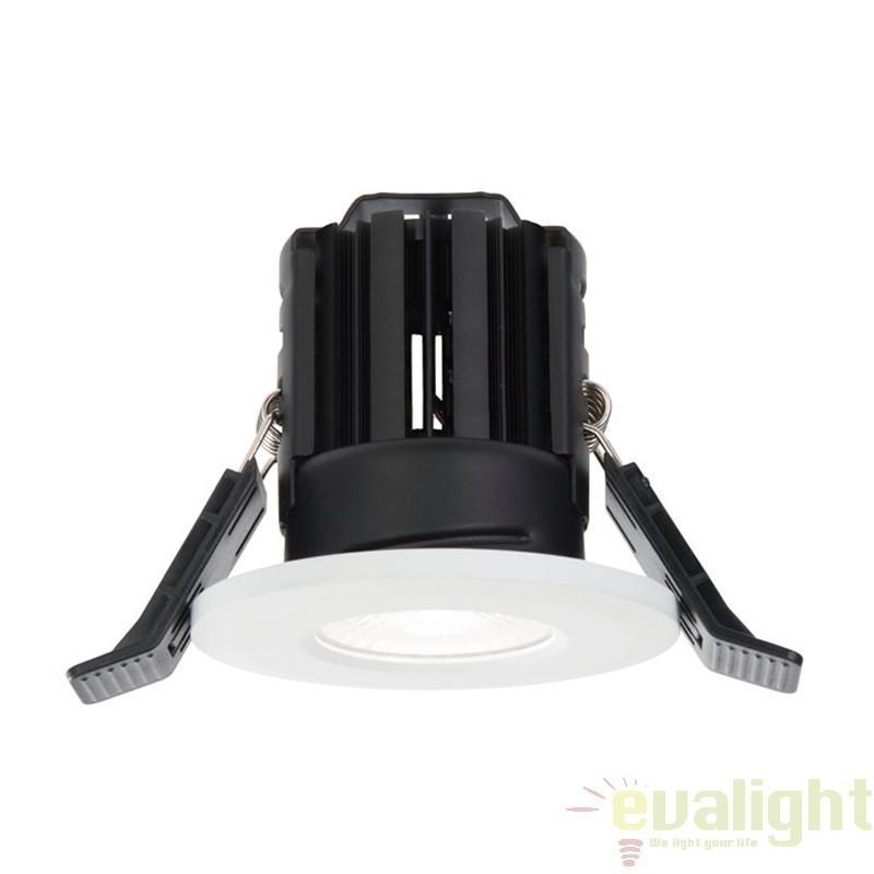 Spot incastrabil alb mat cu iluminat LED 8Watt alb cald, protectie IP65, ShieldLED 600 61058 EN, Spoturi LED incastrate, aplicate, Corpuri de iluminat, lustre, aplice a
