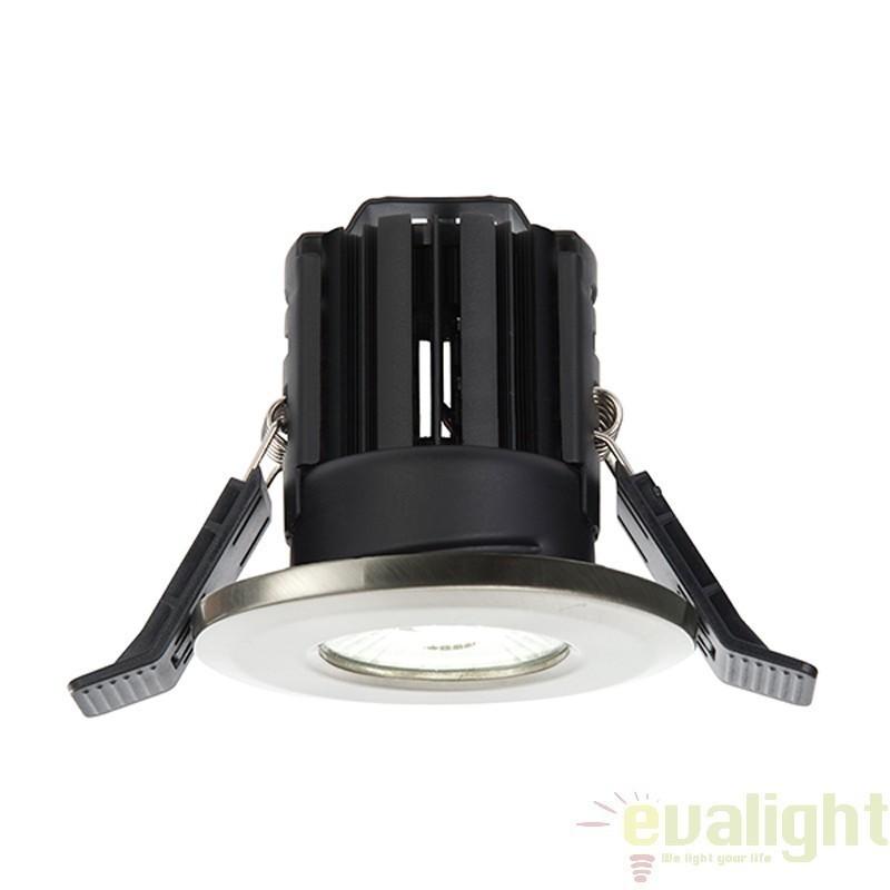 Spot incastrabil nickel satinat cu iluminat LED 8Watt alb cald, protectie IP65, ShieldLED 600 52010 EN, Spoturi LED incastrate, aplicate, Corpuri de iluminat, lustre, aplice a