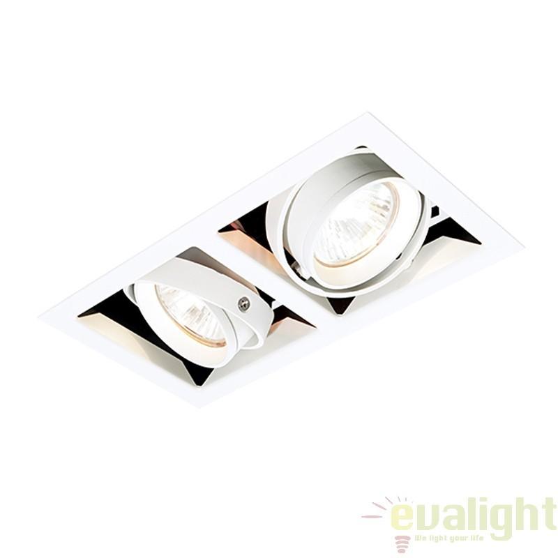 Corp iluminat incastrabil cu 2 spoturi directionabile 50W, Box MR16 MR00202 EN, Spoturi incastrate, aplicate - tavan / perete, Corpuri de iluminat, lustre, aplice a