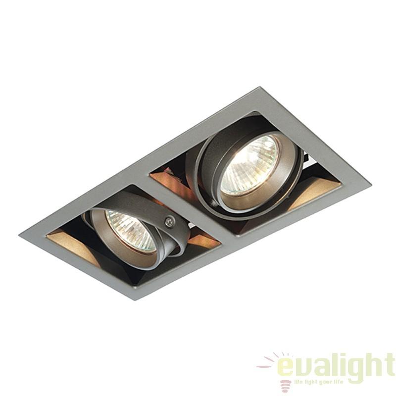 Corp iluminat incastrabil cu 2 spoturi directionabile 50W, Box MR16 MR00201 EN, Spoturi incastrate, aplicate - tavan / perete, Corpuri de iluminat, lustre, aplice a