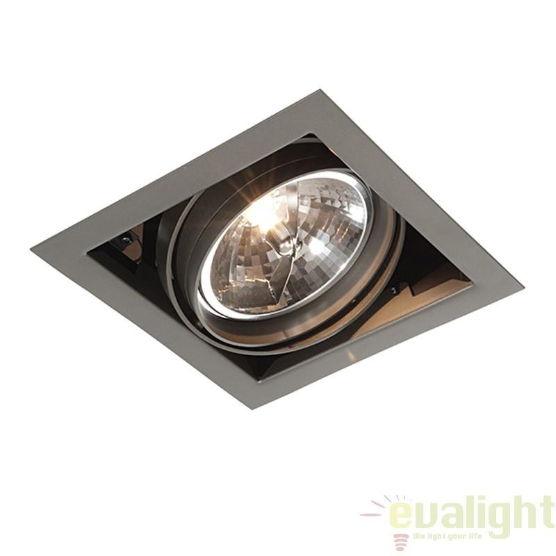 Corp iluminat incastrabil cu 1 spot directionabil 50W, Box AR111 AR00101 EN, Spoturi incastrate, aplicate - tavan / perete, Corpuri de iluminat, lustre, aplice a
