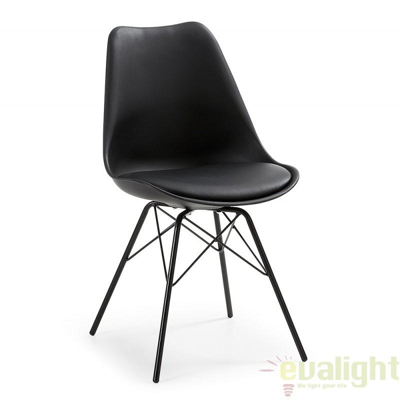 Scaun cu design modern minimalist LARS negru C768S01 JG, Magazin, Corpuri de iluminat, lustre, aplice, veioze, lampadare, plafoniere. Mobilier si decoratiuni, oglinzi, scaune, fotolii. Oferte speciale iluminat interior si exterior. Livram in toata tara.  a
