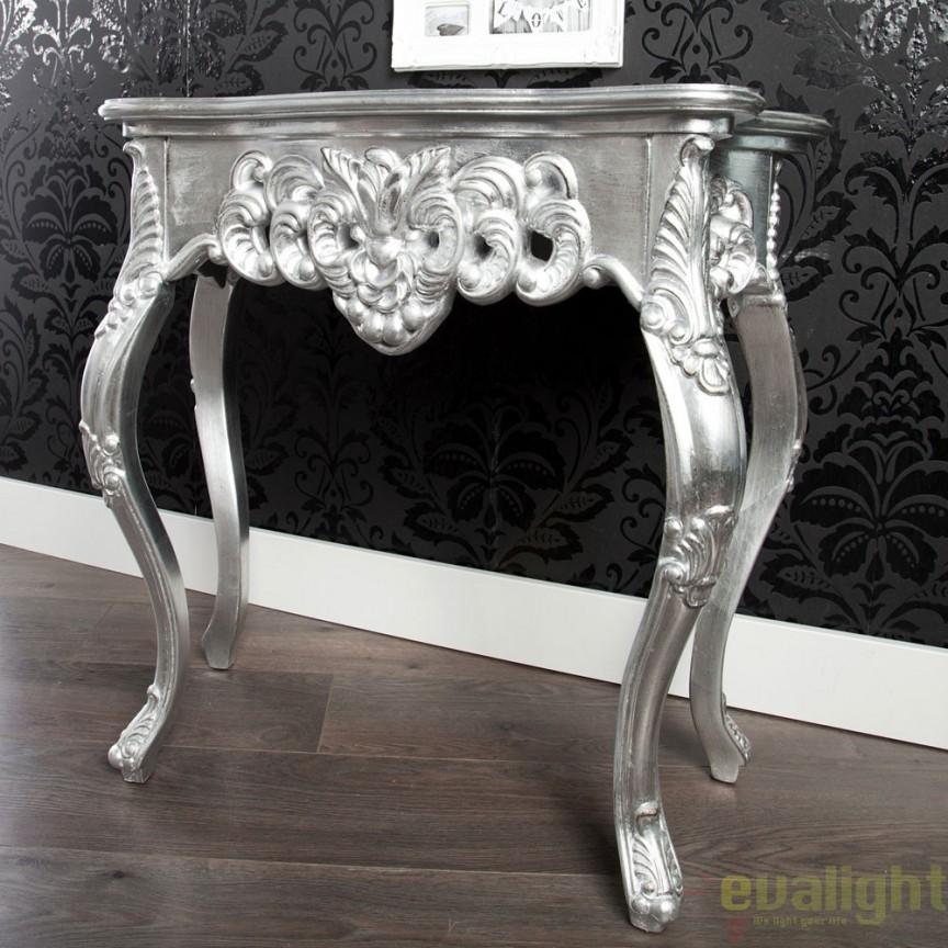 Consola eleganta in stil clasic baroc Venice argintie A-22886 VC, Console - Birouri, Corpuri de iluminat, lustre, aplice a
