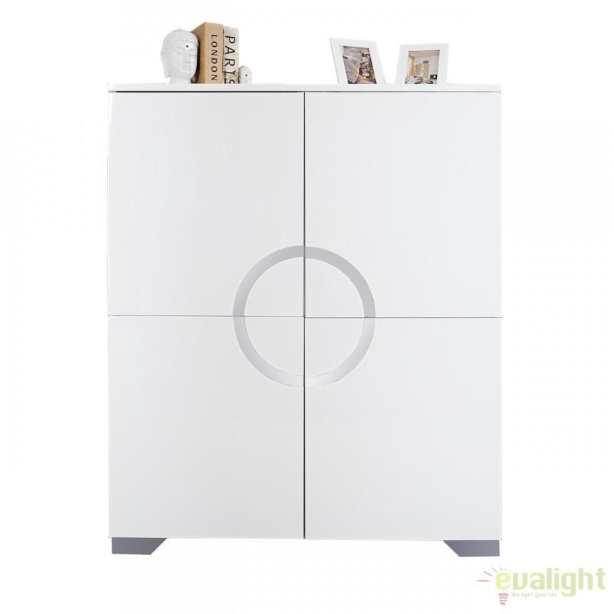 Dulap modern alb lucios cu simbolul de circularitate Zen A-35606 VC, Corpuri de iluminat, lustre, aplice