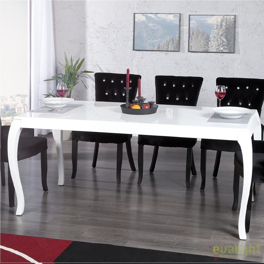 Masa dining eleganta alba Barocco 180cm A-10558 VC, Mese dining, Corpuri de iluminat, lustre, aplice, veioze, lampadare, plafoniere. Mobilier si decoratiuni, oglinzi, scaune, fotolii. Oferte speciale iluminat interior si exterior. Livram in toata tara.  a