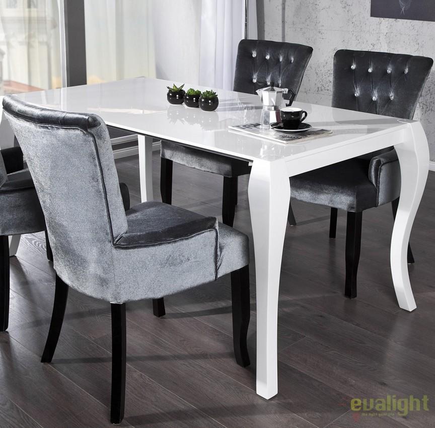 Masa dining extensibila, eleganta alba Barocco 170-230cm A-20053 VC, Mese dining, Corpuri de iluminat, lustre, aplice a