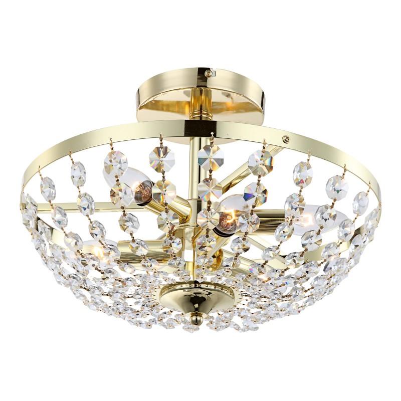 Plafoniera aurie cristal K5 MASAYA 47006-6 GL, Lustre aplicate, Plafoniere clasice, Corpuri de iluminat, lustre, aplice, veioze, lampadare, plafoniere. Mobilier si decoratiuni, oglinzi, scaune, fotolii. Oferte speciale iluminat interior si exterior. Livram in toata tara.  a