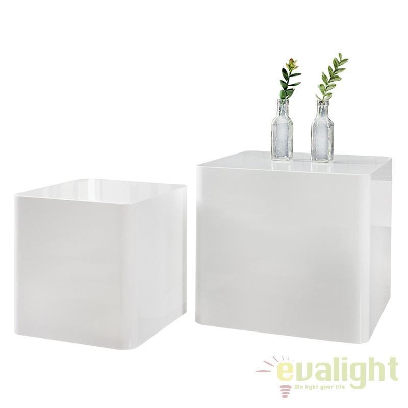 Set de 2 masute albe design modern-lucios, Monobloc A-35894 VC, PROMOTII, Corpuri de iluminat, lustre, aplice, veioze, lampadare, plafoniere. Mobilier si decoratiuni, oglinzi, scaune, fotolii. Oferte speciale iluminat interior si exterior. Livram in toata tara.  a