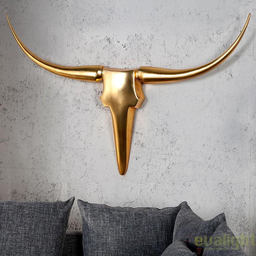 Statueta design decorativ Bull gold A-20407 VC, Statuete, Figurine decorative, Corpuri de iluminat, lustre, aplice, veioze, lampadare, plafoniere. Mobilier si decoratiuni, oglinzi, scaune, fotolii. Oferte speciale iluminat interior si exterior. Livram in toata tara.  a