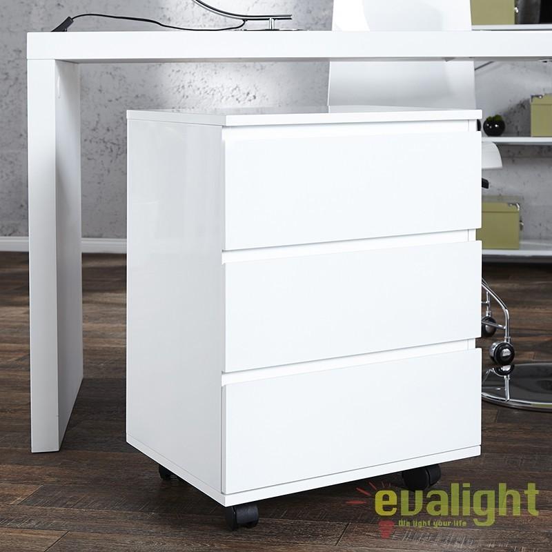 Dulap cu sertare si role, modern si functional, Big Deal alb A-16808 VC, Console - Birouri, Corpuri de iluminat, lustre, aplice a