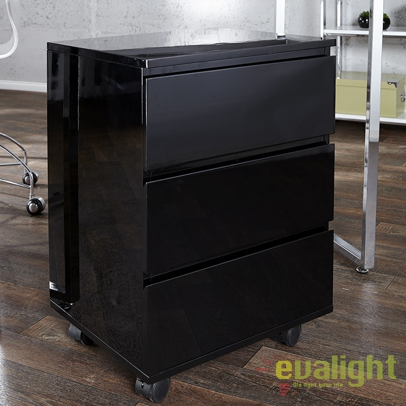Dulap cu sertare si role, modern si functional, Big Deal negru A-17519 VC, Console - Birouri, Corpuri de iluminat, lustre, aplice a