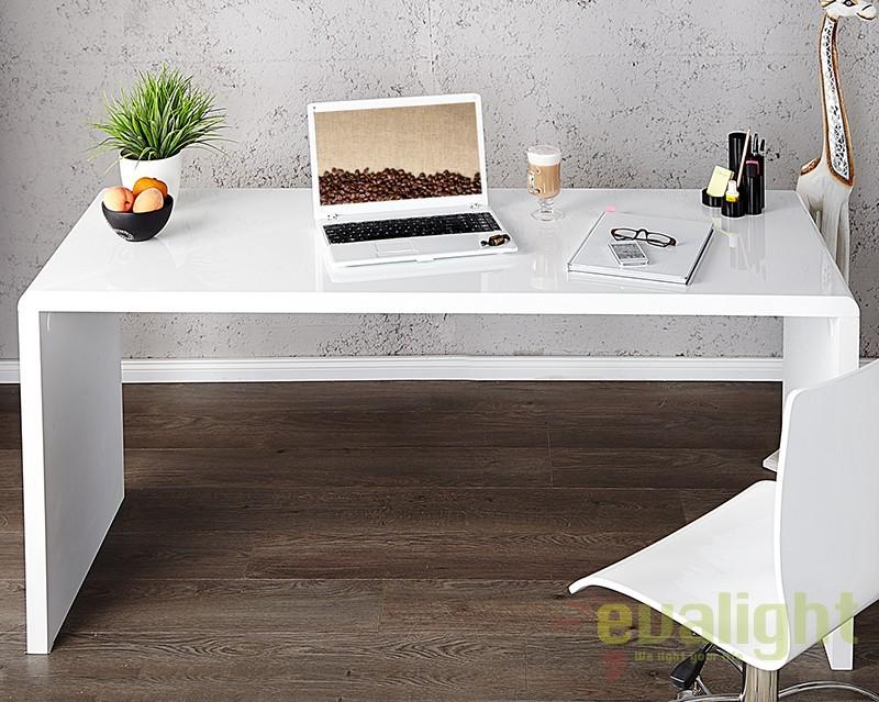 Birou modern alb, simplu si elegant, Fast Trade 140cm A-36024 VC, Console - Birouri, Corpuri de iluminat, lustre, aplice a