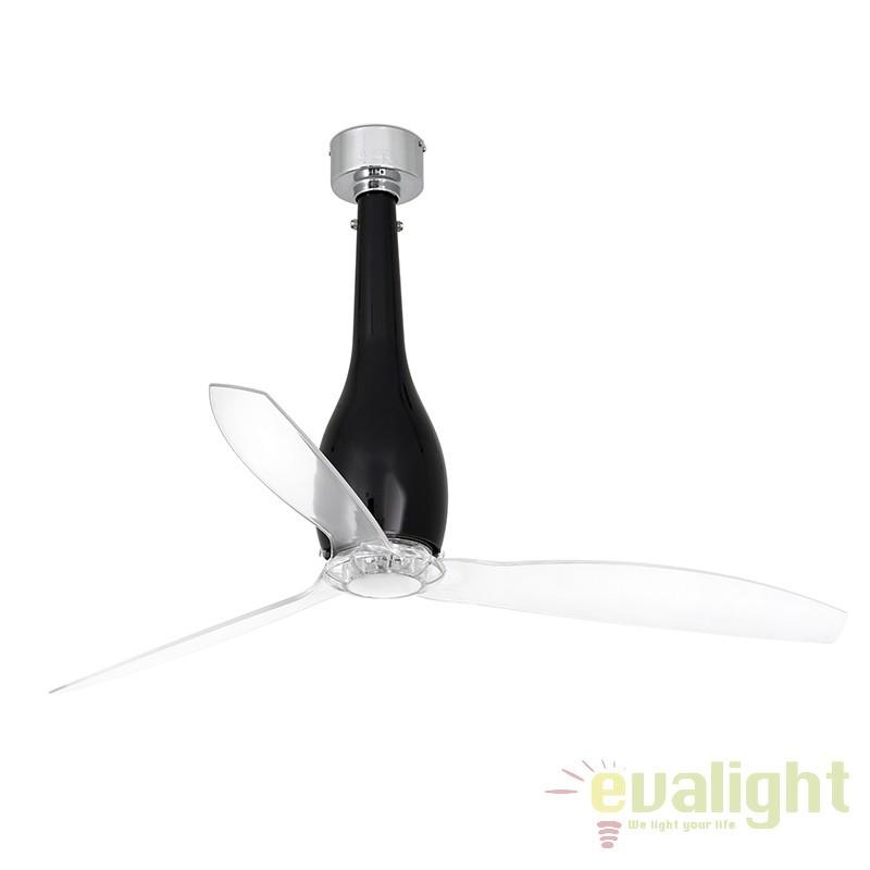 Ventilator cu telecomanda ETERFAN negru lucios/ transparent 32002 Faro Barcelona, Rezultate cautare, Corpuri de iluminat, lustre, aplice a