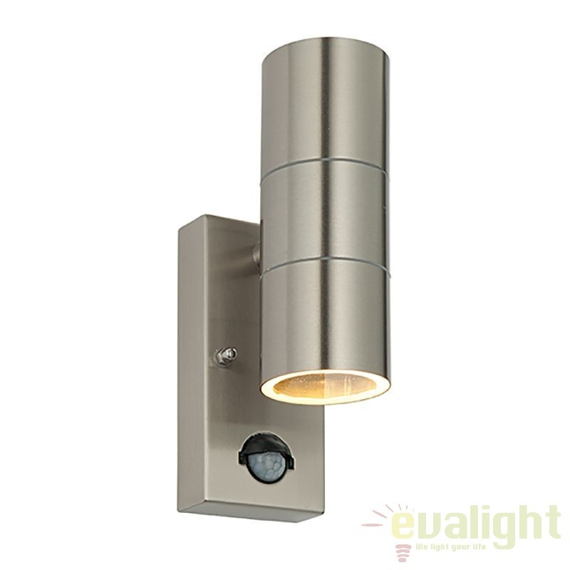 Aplica de exterior cu senzor de miscare iluminat up& down, IP44 Palin otel inoxidabil 51893 EN, Iluminat cu senzor de miscare, Corpuri de iluminat, lustre, aplice, veioze, lampadare, plafoniere. Mobilier si decoratiuni, oglinzi, scaune, fotolii. Oferte speciale iluminat interior si exterior. Livram in toata tara.  a