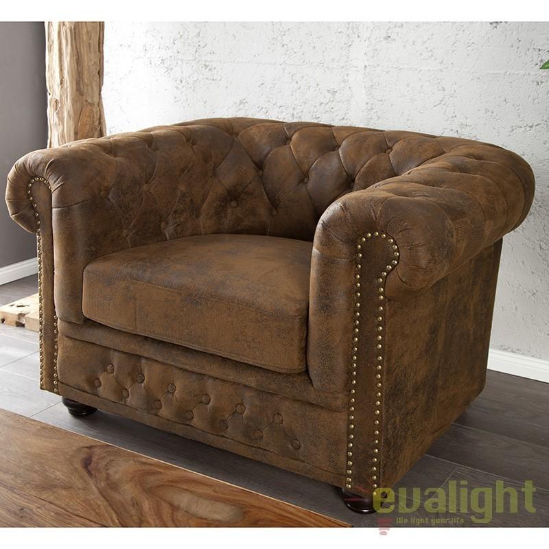 Fotoliu clasic stil englezesc Chesterfield maro antic A-17383 VC, Promotii si Reduceri⭐ Oferte ✅Corpuri de iluminat ✅Lustre ✅Mobila ✅Decoratiuni de interior si exterior.⭕Pret redus online➜Lichidari de stoc❗ Magazin ➽ www.evalight.ro. a