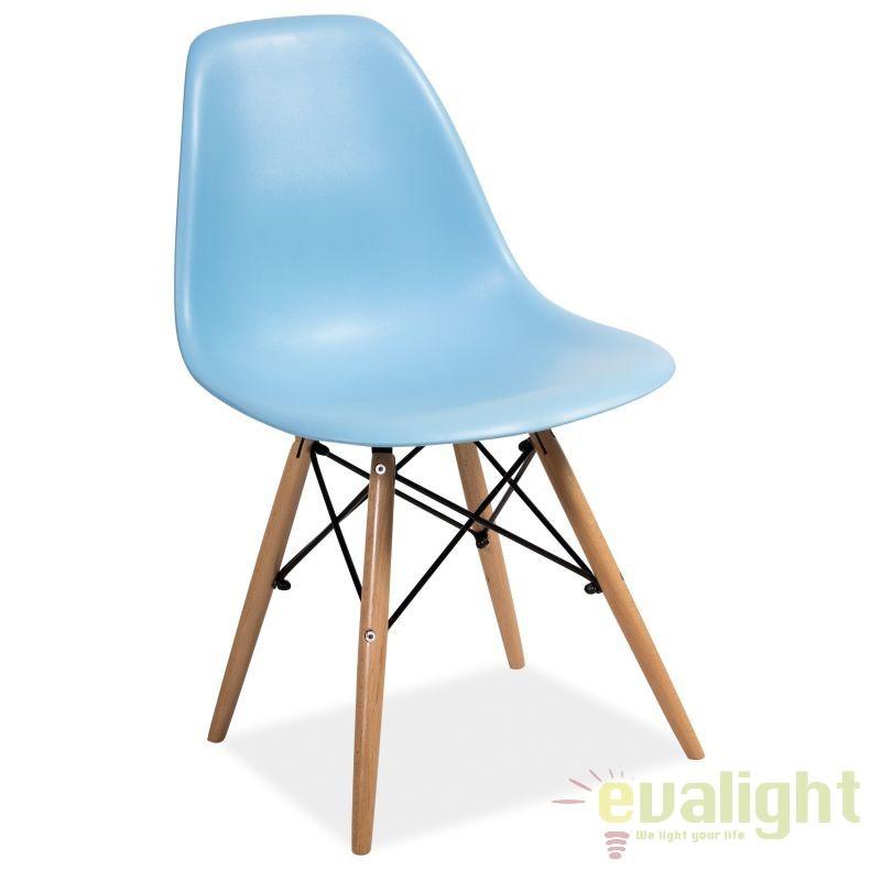 Scaun modern, picioare din lemn de fag, ENZO albastru ENZO SM, Corpuri de iluminat, lustre, aplice