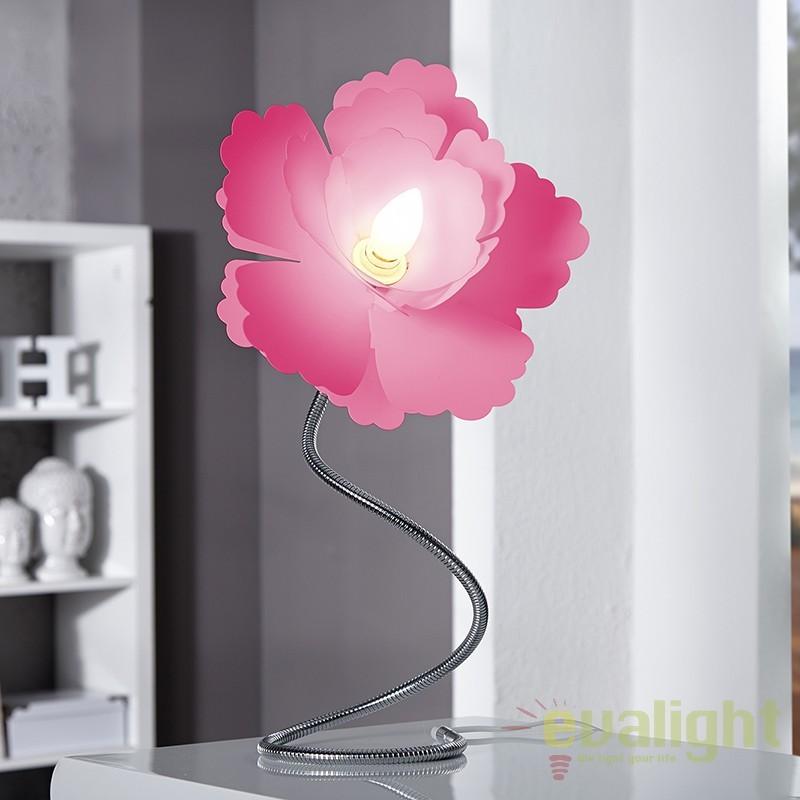 Lampa flexibila moderna design floral decorativ, Florcita roz A-10813 VC, Corpuri de iluminat, lustre, aplice, veioze, lampadare, plafoniere. Mobilier si decoratiuni, oglinzi, scaune, fotolii. Oferte speciale iluminat interior si exterior. Livram in toata tara.