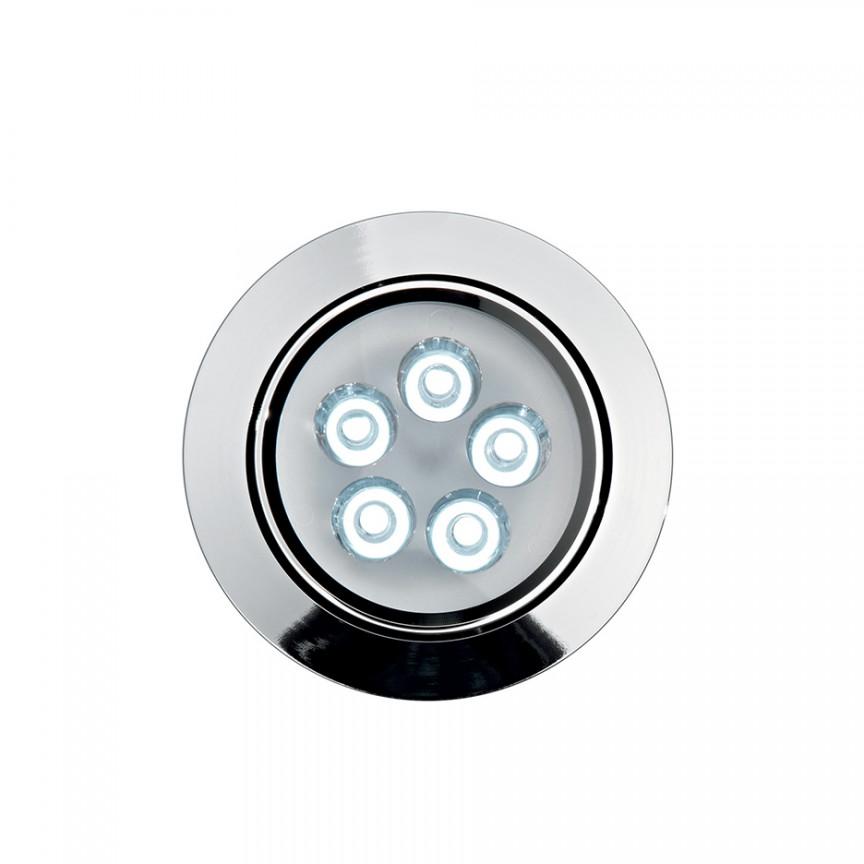 Spot orientabil incastrat diam.10,5cm, LED DELTA FI5 crom 060903, Spoturi incastrate, aplicate - tavan / perete, Corpuri de iluminat, lustre, aplice a