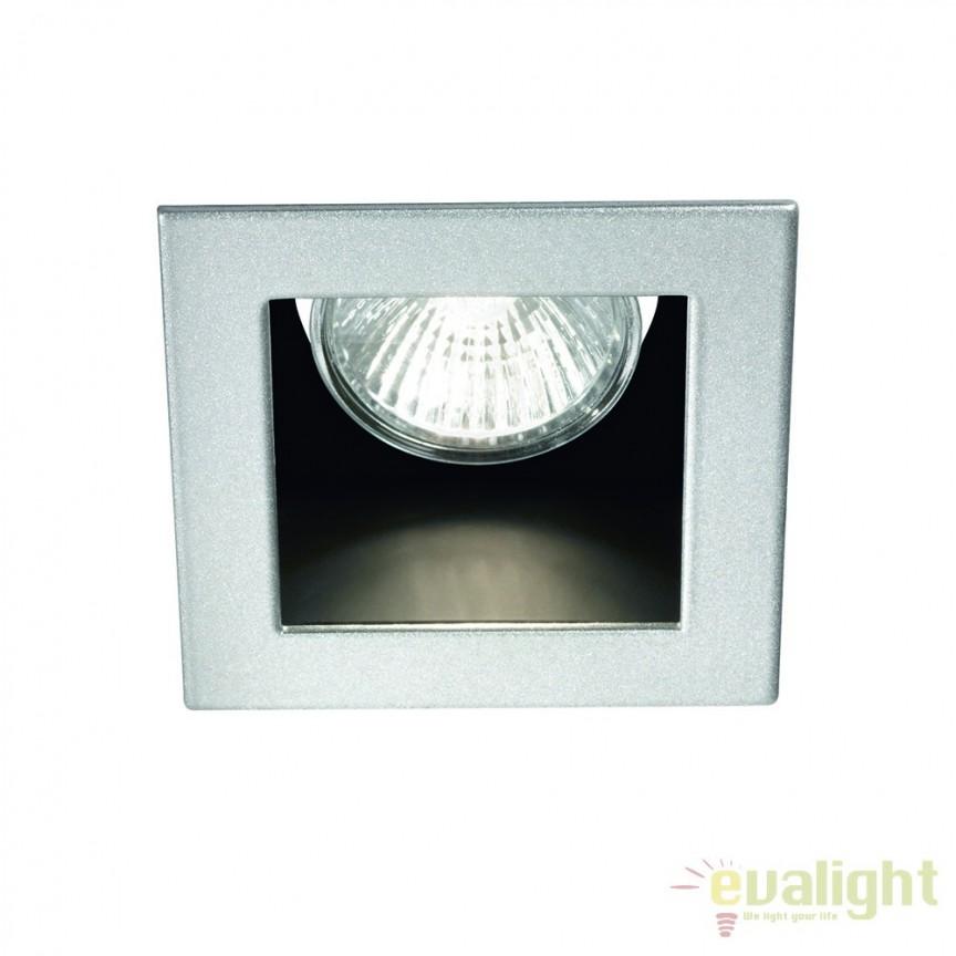 Spot incastrabil pt. tavan fals 9x9cm, FUNKY FI1 ALLUMINIO 083223, Spoturi incastrate, aplicate - tavan / perete, Corpuri de iluminat, lustre, aplice a