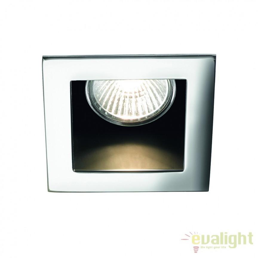 Spot incastrabil pt. tavan fals 9x9cm, FUNKY FI1 CROMO 083193, Spoturi incastrate, aplicate - tavan / perete, Corpuri de iluminat, lustre, aplice a