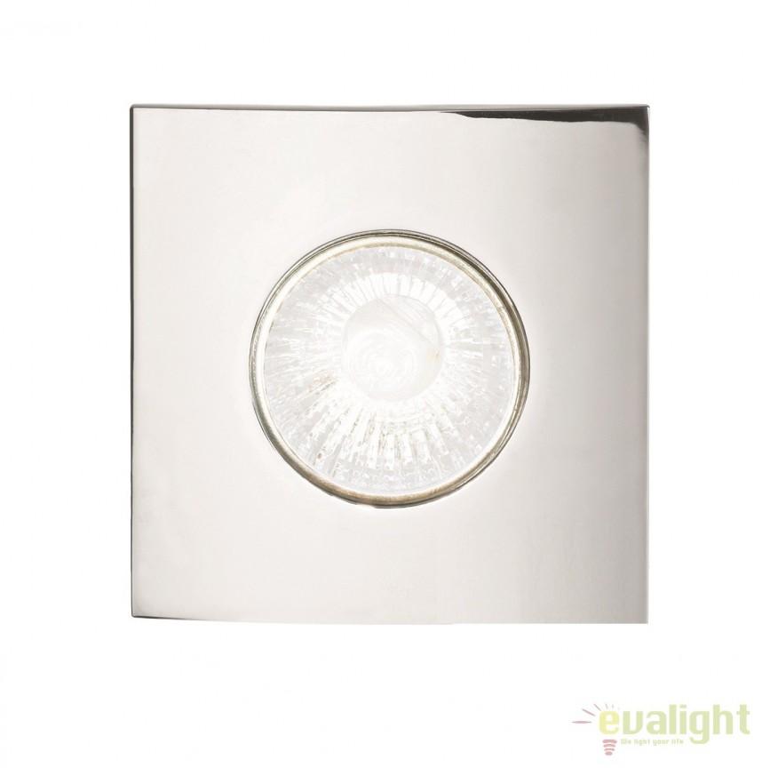 Spot incastrabil pt. tavan fals cu rama turnata HIP HOP FI1 SQUARE CROMO 107677, Spoturi incastrate, aplicate - tavan / perete, Corpuri de iluminat, lustre, aplice a