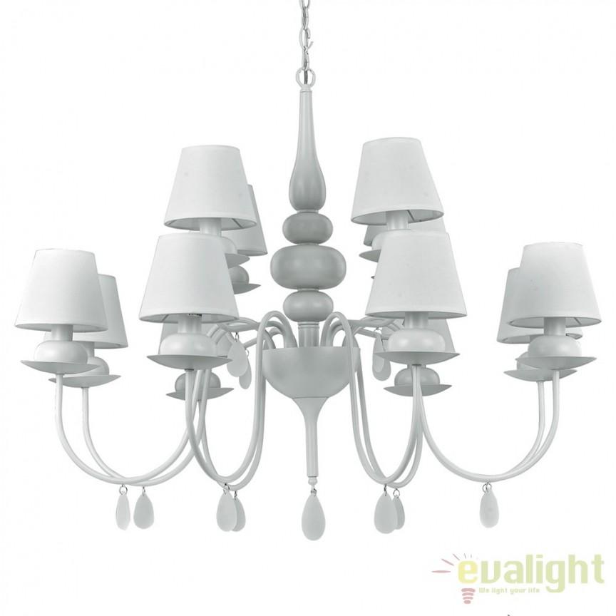 Candelabru 12 brate diametru 92cm BLANCHE SP12 BIANCO 114224, Candelabre si Lustre moderne elegante⭐ modele de lux potrivite pentru dormitor living, bucatarie.✅DeSiGn decorativ 2021!❤️Promotii lampi❗➽www.evalight.ro. Alege oferte la colectile NOI de corpuri de iluminat suspendate pt interior stil modern, suspensii de tip pendule cu cristale, abajur material textil, lemn, metal, sticla, bec tip lumanare Edison sau LED, ieftine de calitate deosebita la cel mai bun pret. a