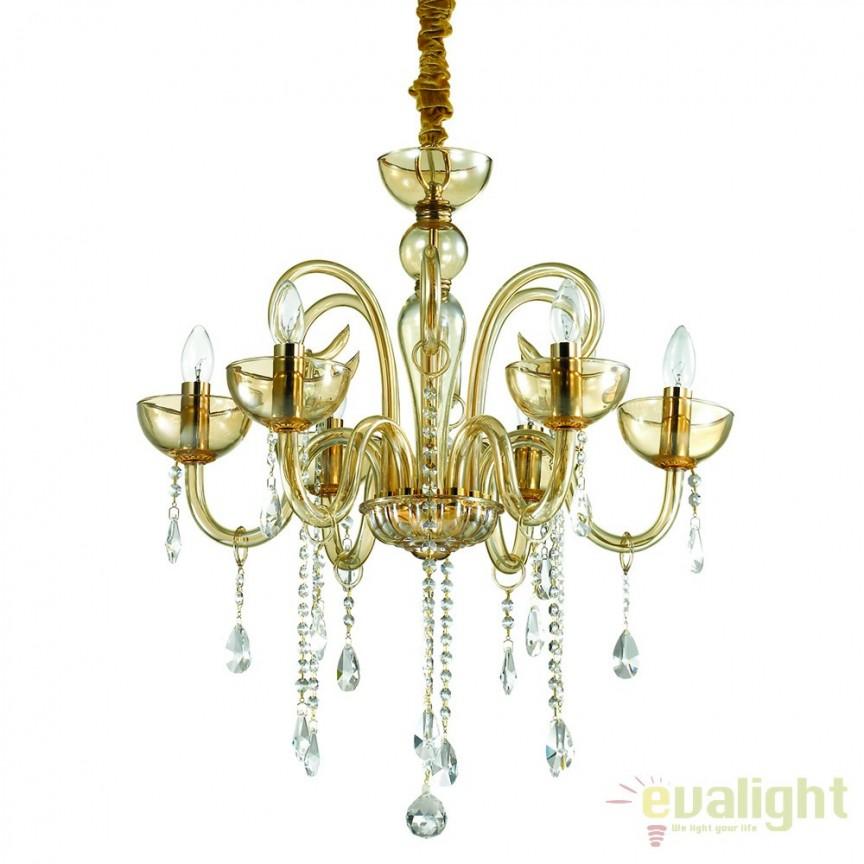 Candelabru cu 6 brate stil Venetian CANALETTO SP6 AMBRA 114521, Corpuri de iluminat, lustre, aplice, veioze, lampadare, plafoniere. Mobilier si decoratiuni, oglinzi, scaune, fotolii. Oferte speciale iluminat interior si exterior. Livram in toata tara.