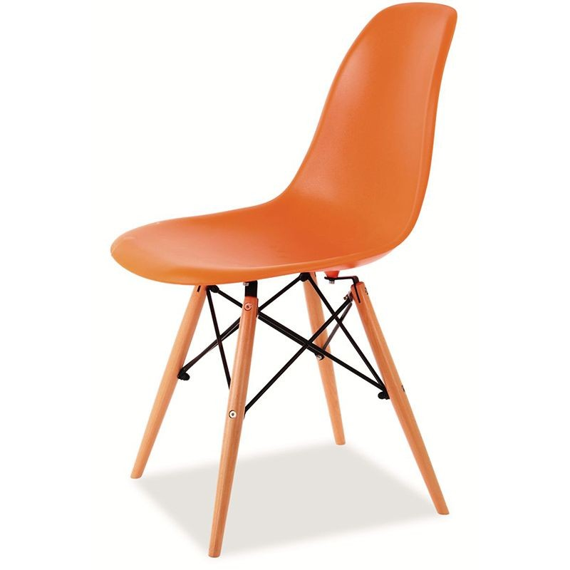 Scaun modern, picioare din lemn finisaj portocaliu, ENZO portocaliu ENZO SM, Corpuri de iluminat, lustre, aplice