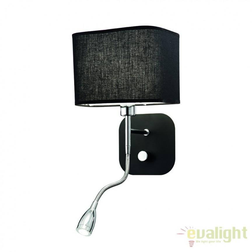 Aplica de perete cu reader LED HOLIDAY AP2 NERO 124179, Aplice de perete LED, moderne⭐ modele potrivite pentru dormitor, living, baie, hol, bucatarie.✅DeSiGn LED decorativ 2021!❤️Promotii lampi❗ ➽ www.evalight.ro. Alege oferte NOI corpuri de iluminat cu LED pt interior, elegante din cristal (becuri cu leduri si module LED integrate cu lumina calda, naturala sau rece), ieftine si de lux, calitate deosebita la cel mai bun pret.  a