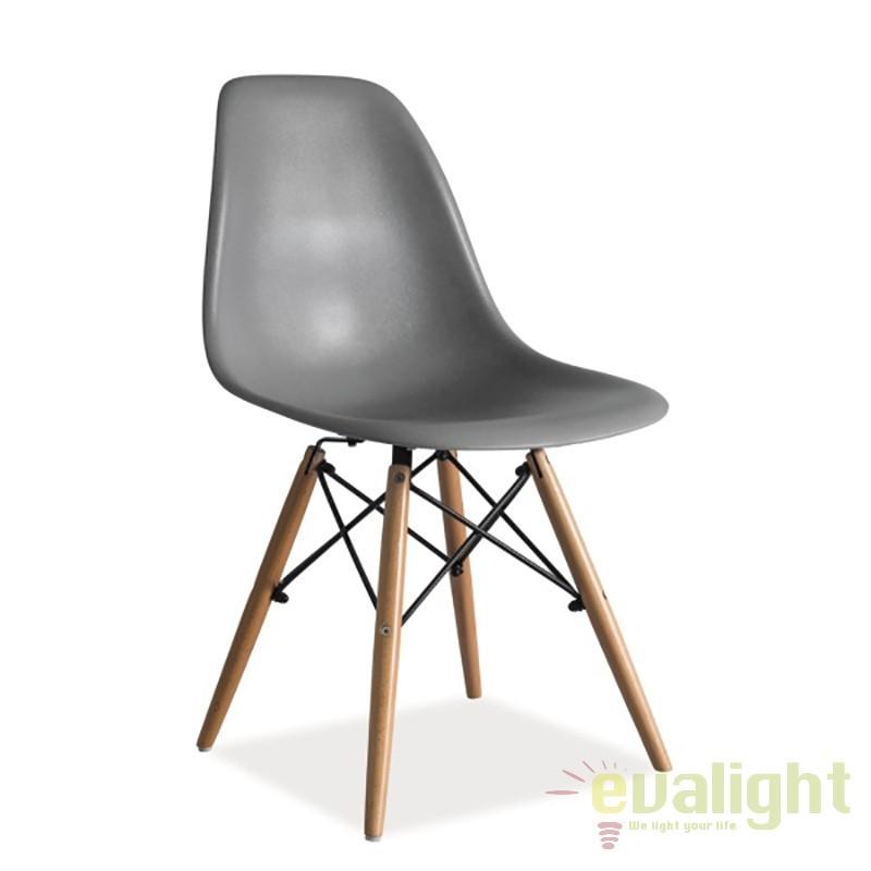 Scaun modern, picioare din lemn de fag, ENZO gri ENZOSZ SM, Corpuri de iluminat, lustre, aplice
