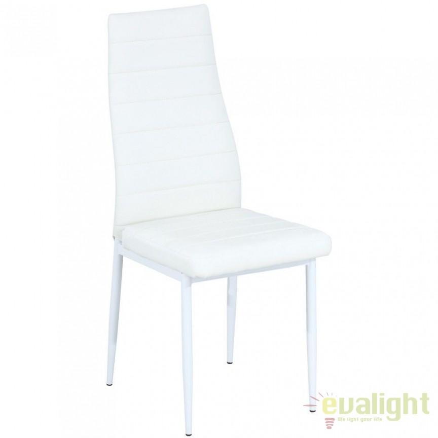 Scaun elegant design modern cu picioare albe si tapiterie piele alba H261 H261BB SM, Mobila si Decoratiuni,  a