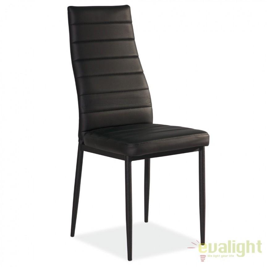Scaun elegant design modern cu picioare negre si tapiterie piele negra H261 H261C SM, Mobila si Decoratiuni,  a
