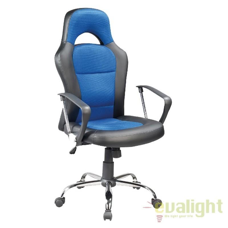 Scaun de Birou gaming, design ergonomic Q-033 negru/ albastru OBRQ033N SM, Scaune de birou, Corpuri de iluminat, lustre, aplice, veioze, lampadare, plafoniere. Mobilier si decoratiuni, oglinzi, scaune, fotolii. Oferte speciale iluminat interior si exterior. Livram in toata tara.  a