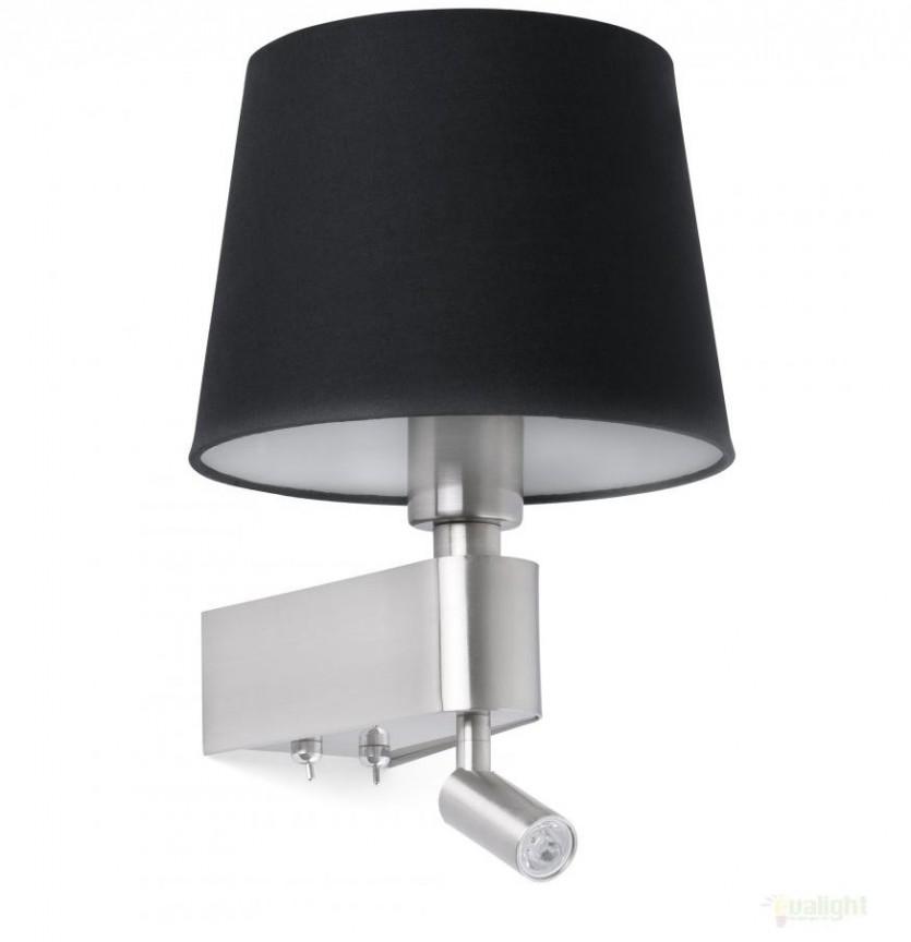 Aplica de perete moderna neagra cu reader LED, ROOM 29977 , Aplice de perete LED, Corpuri de iluminat, lustre, aplice, veioze, lampadare, plafoniere. Mobilier si decoratiuni, oglinzi, scaune, fotolii. Oferte speciale iluminat interior si exterior. Livram in toata tara.  a