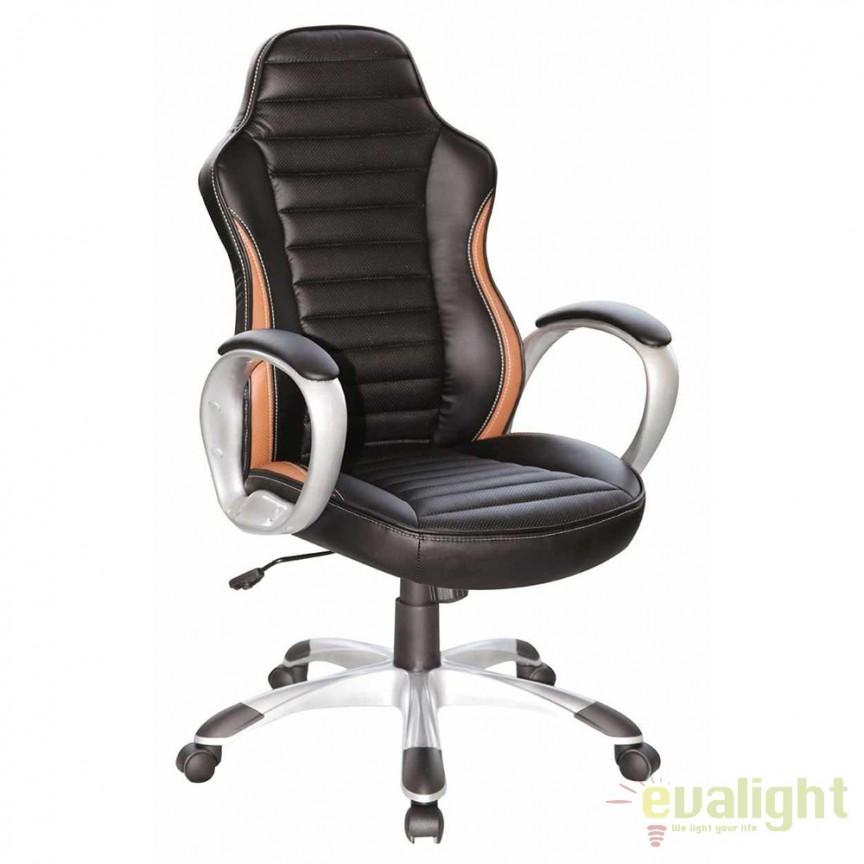 Scaun directorial ergonomic Q-112 negru/ maro OBRQ112CZ SM, Scaune de birou, Corpuri de iluminat, lustre, aplice, veioze, lampadare, plafoniere. Mobilier si decoratiuni, oglinzi, scaune, fotolii. Oferte speciale iluminat interior si exterior. Livram in toata tara.  a