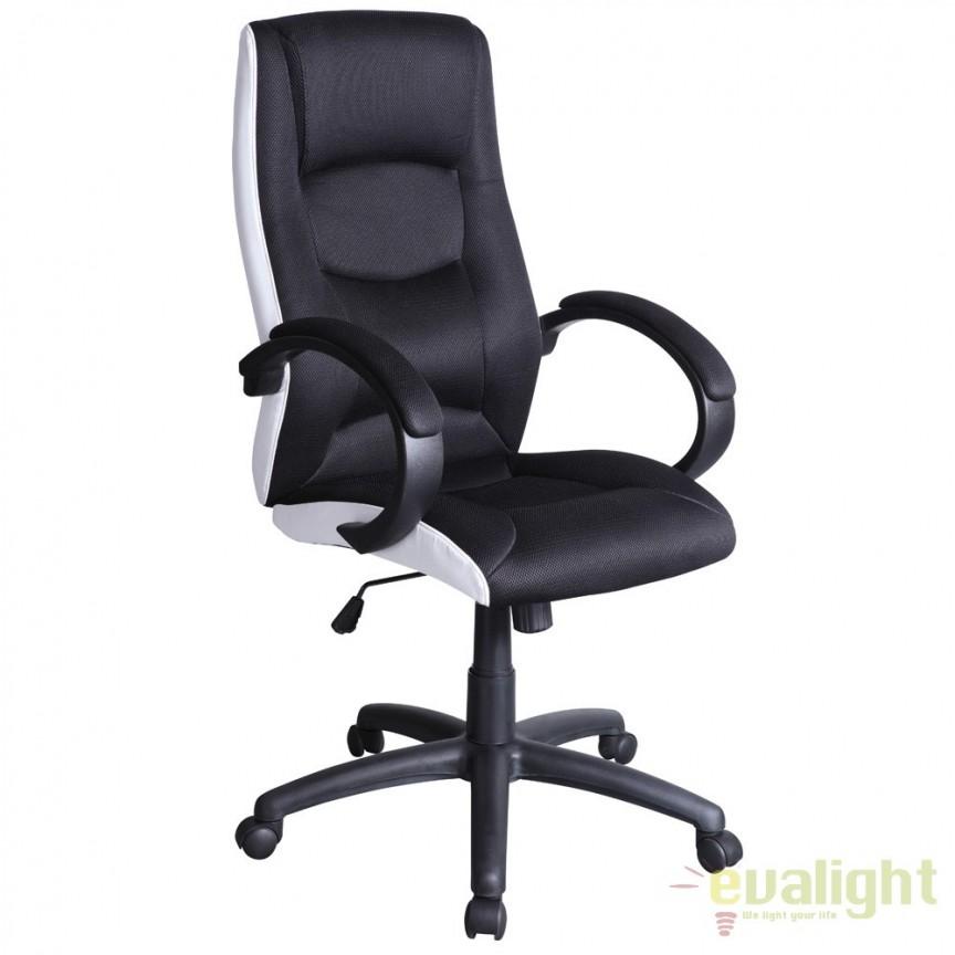Scaun de birou ergonomic Q-041 negru/ alb OBRQ041 SM, Scaune de birou, Corpuri de iluminat, lustre, aplice, veioze, lampadare, plafoniere. Mobilier si decoratiuni, oglinzi, scaune, fotolii. Oferte speciale iluminat interior si exterior. Livram in toata tara.  a