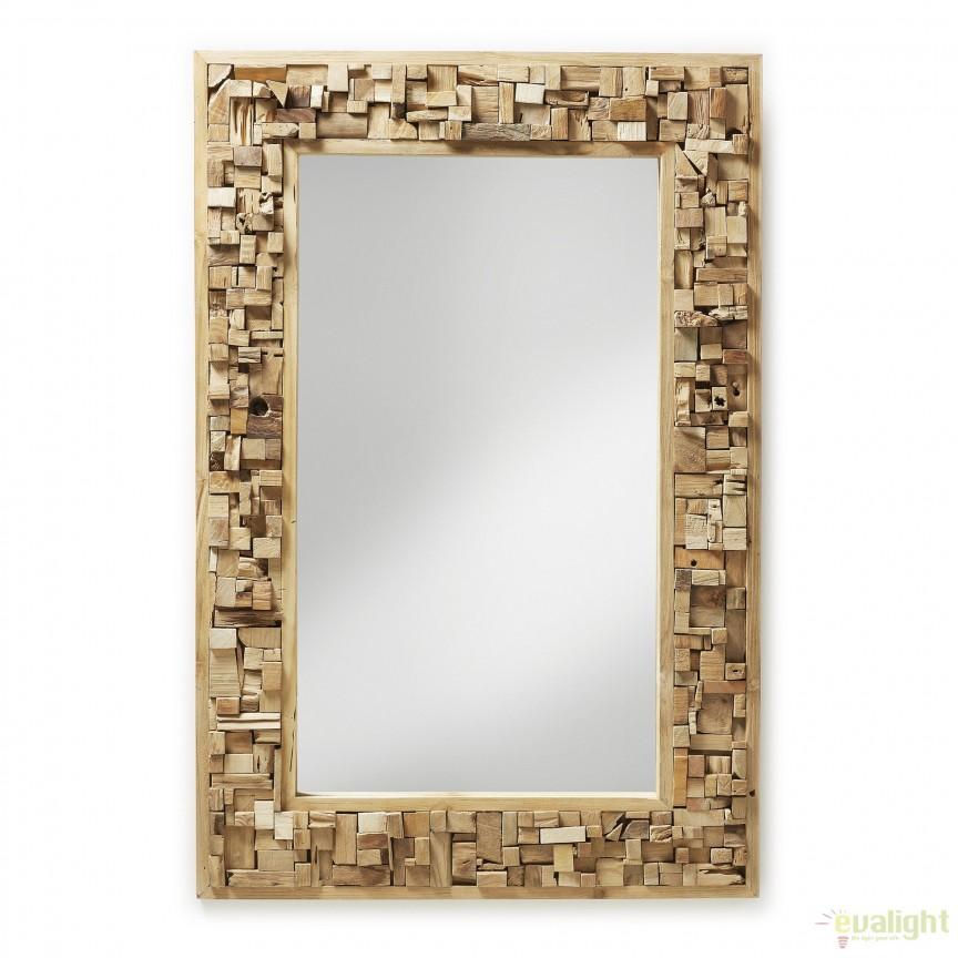 Oglinda decorativa, rama mozaic din lemn de tec, YALANA A180M47 JG, Oglinzi decorative,  a