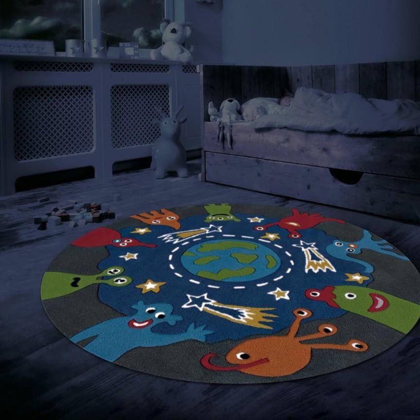 Covor copii cu fire fluorescente ce stralucesc in intuneric, Spirit-Glowy 130cm albastru 3143-54 AE, Outlet,  a