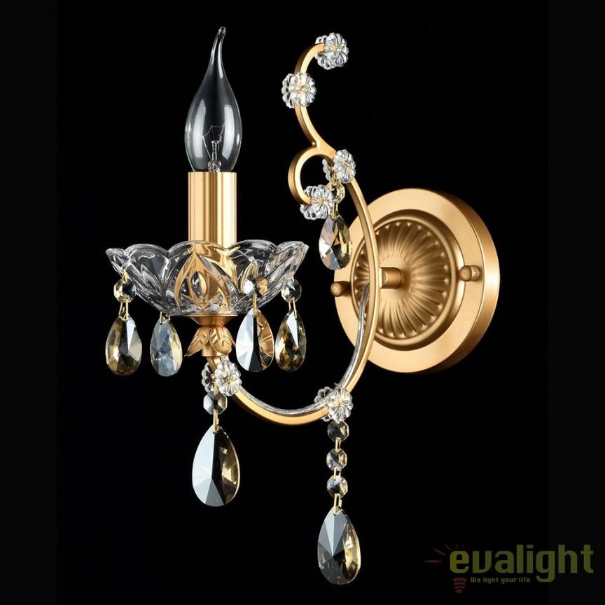 Aplica de perete eleganta, cristal Sevilla auriu MYDIA004-01-G, PROMOTII, Corpuri de iluminat, lustre, aplice, veioze, lampadare, plafoniere. Mobilier si decoratiuni, oglinzi, scaune, fotolii. Oferte speciale iluminat interior si exterior. Livram in toata tara.  a