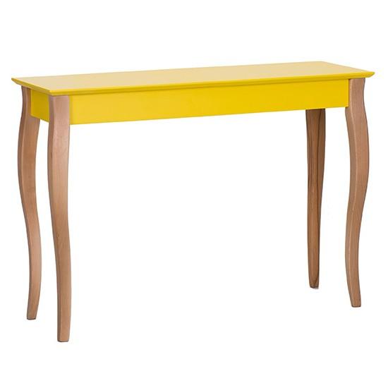 Consola eleganta cu picioare din lemn de masiv de fag LILLO Large galben RG, Corpuri de iluminat, lustre, aplice