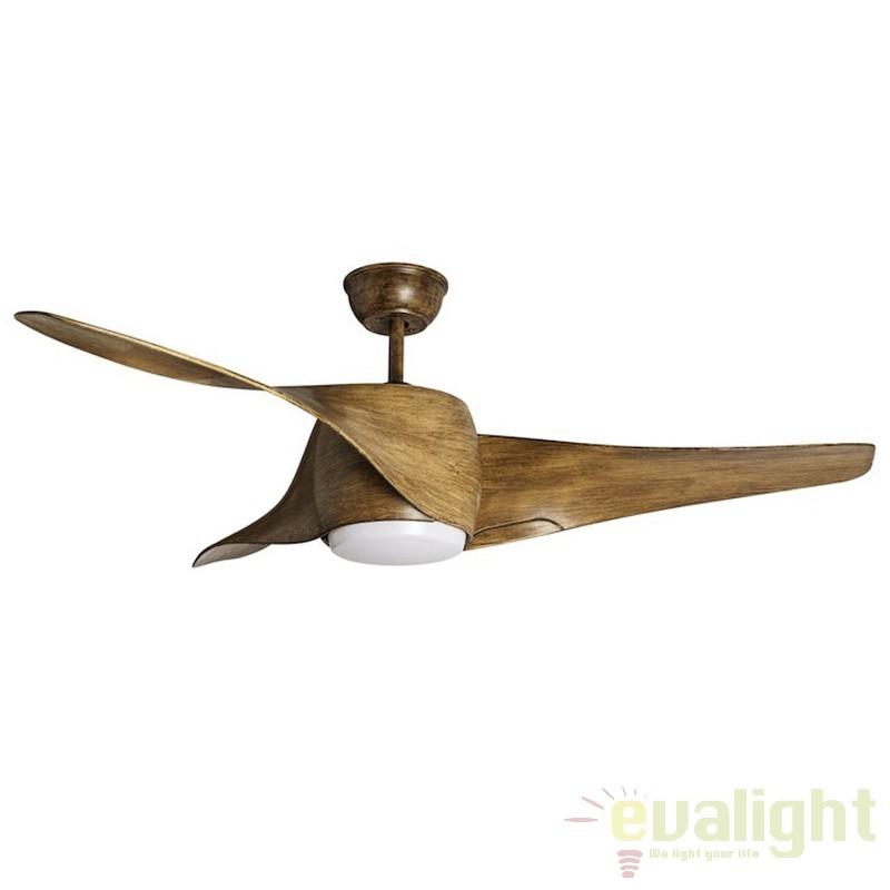 Lustra LED cu ventilator si telecomanda, MUSTANG madera 072209 SU, Outlet,  a