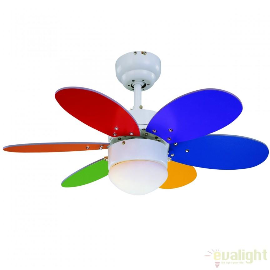 Lustra LED cu ventilator, palete multicolor, RAINBOW 75008 SU,  a