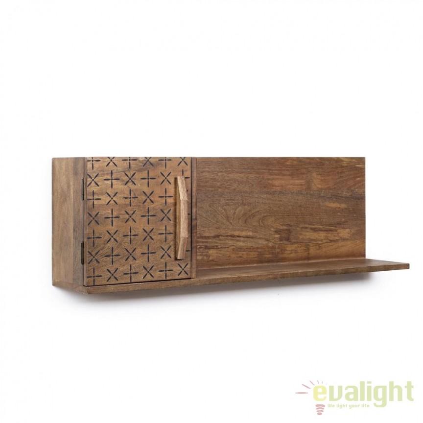 Raft din lemn de mango design vintage EMIRA 1DO 103x20cm 0745167 BZ, Vitrine - Rafturi,  a