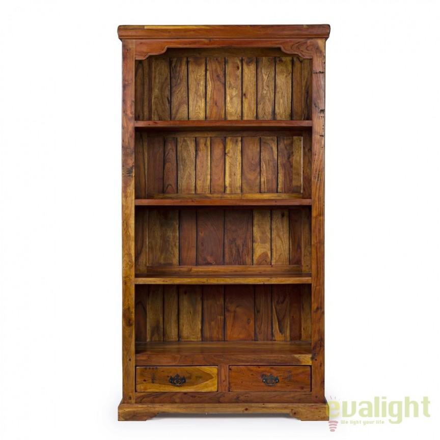 Biblioteca design rustic CHATEAUX 4SH-2DR 0742740 BZ, Vitrine - Rafturi,  a